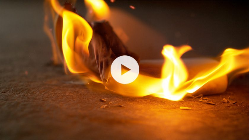 Ceramic is one of the few materials that does not burn
